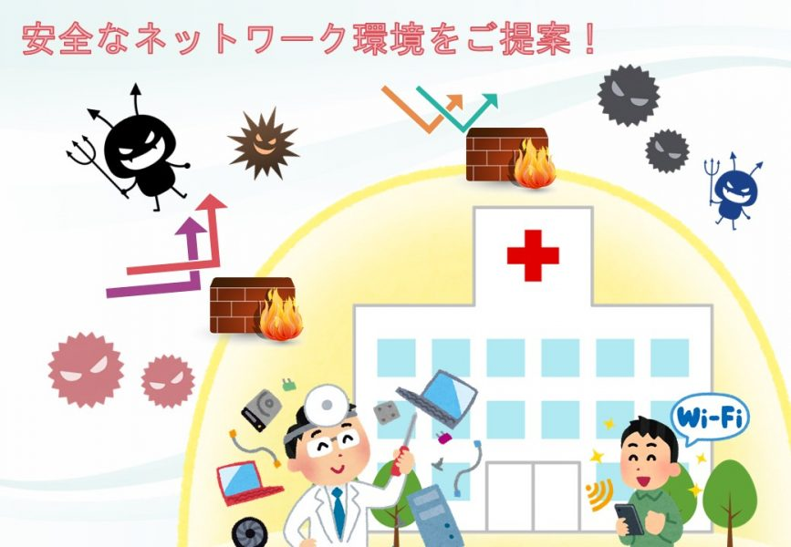 安全な病院ネットワークのイラスト
